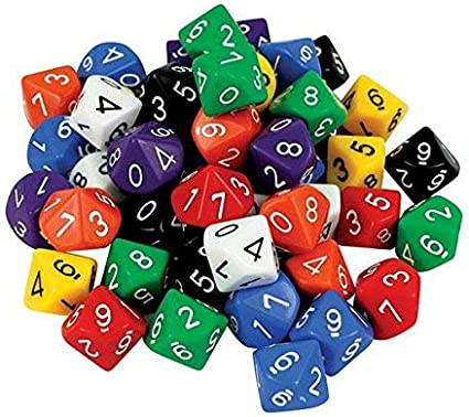 D10 Dice: 10 Face 0-9 (pack of 50): Amazon.es: Electrónica