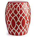 "CC Home Furnishings 17.5"" Versatile Congo Drum Shape Indoor Stool Featuring White Lattice over Tulip Red"