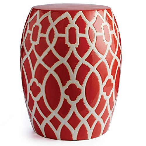"CC Home Furnishings 17.5"" Versatile Congo Drum Shape Indoor Stool Featuring White Lattice over Tulip Red by CC Home Furnishings"