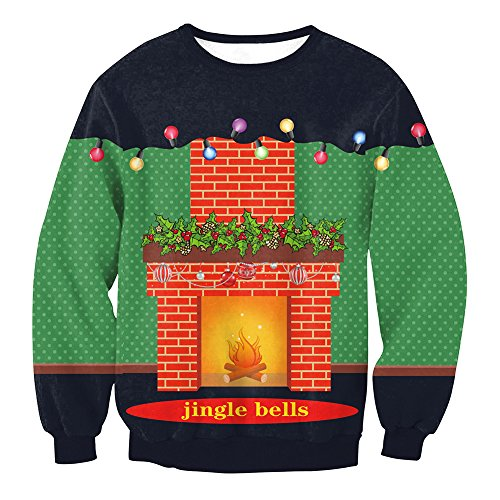 MS Mouse Womens Christmas Jingle Bells Fireplace Print Party Sweatshirt L ()