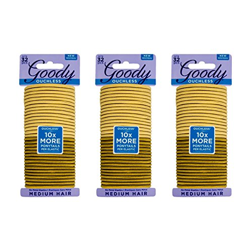Goody Ouchless Women's Braided Elastics Blondes 4mm for Medium Hair, (3 Pack/96 Ct Total)