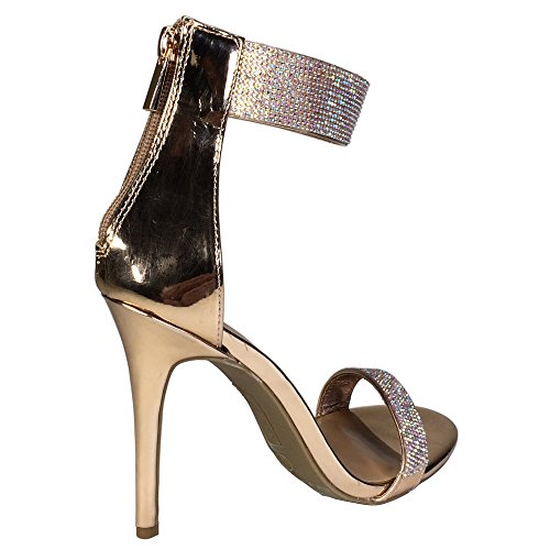 Anne Michelle Womens One Band Embellished Dress Heel Sandal With Ankle Strap Rose Gold Patent Pu TK1jCl4wp