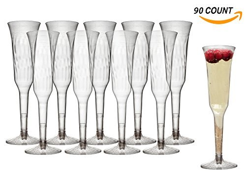 Premium Crystal Clear Plastic Hollow-Stem Champagne Glasses/Flutes | Perfect for Cocktail party Cups | 5 oz | 2 piece | Bulk Pack 90 count