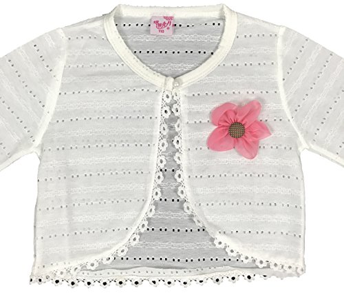 Fleece Bolero (Long Sleeve Lace Cardigan Shrug Little Girl Special Occasion Bolero Off White 3-4T (110) (KC1507))