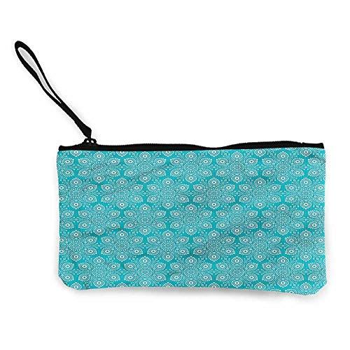 Zip Mini Wallet Turquoise and White,Pointillist Art W8.5