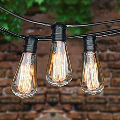 ALightUp Bulb String Lights with 9 ST64 Edison/Incandescent Bulbs - 25ft Black Wire Weatherproof Outdoor Commercial Vintage String Lights for Garden Party Bar Christmas Wedding Holiday Decoration