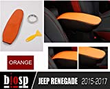 BIOSP Fits Jeep Renegade 2015 2016 2017 Center Console Car Armrest Leather Protector Cover,orange