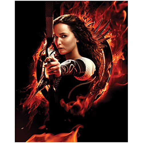 Katniss Everdeen on Fire Taking Aim with Bow - Hunger Games - 8x10 Photograph / Photo - Jennifer Lawrence ()