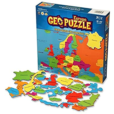 GeoToys — GeoPuzzle Europe — Educational Kid Toys for Boys and Girls, 58 Piece Geography Jigsaw Puzzle, Jumbo Size Kids Puzzle — Ages 4 and up: Toys & Games