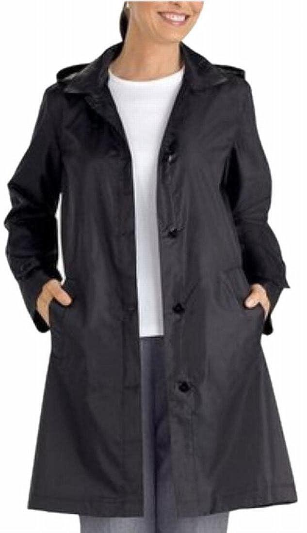 ainr Women's Buttons Windproof Waterproof Lightweight Hooded Long Rain Jacket