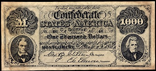 (Confederate Banknote None Thousand Dollare Banknote Issued by The Confederate States of America at Montgomery Alabama 1861 John C Calhoun is On The Left Andrew Jackson is On The Right Poster Print by)