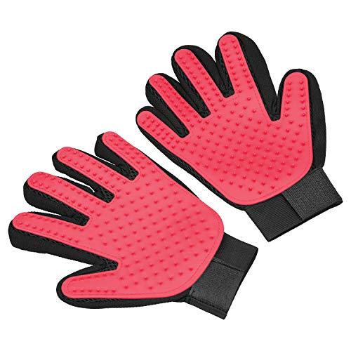 Pet Hair Remover Glove,Pet Grooming Glove,Gentle Dog Brush Deshedding Gloves Cat Massage Mitt for Easy Hair Removal Long…