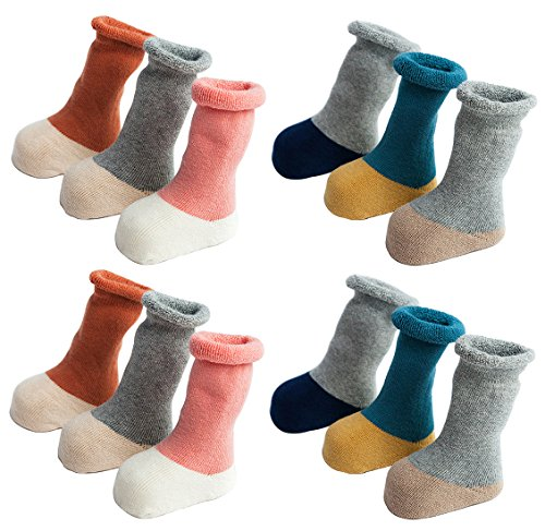 LUXEHOME (YR1622) New Style Soft Baby Toddler Newborn Winter Thick Cotton Socks, 12 Pairs per Pack (S (6-12 month))