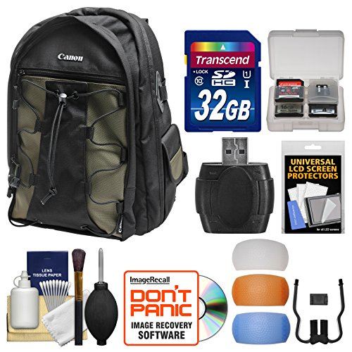 Canon 200EG Deluxe Digital SLR Camera Backpack Case + 32GB Card + Diffuser Kit for EOS 6D, 7D, 77D, 80D, 5D Mark II III IV, Rebel T6, T6i, T6s, T7i, SL2 by Canon
