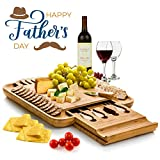 Bambusi Cheese Board Set - Bamboo Serving Tray and Charcuterie Platter with Cutlery Set   Perfect Gift for Birthday, Housewarming & Father's Day