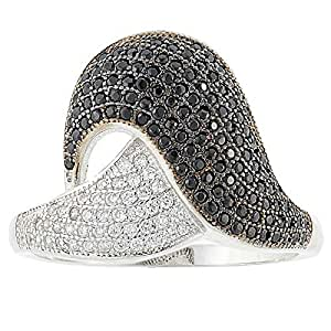 Aurora Women's Silver Black and White Ring