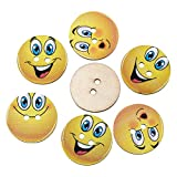 The Bead and Button Box - 20 Novelty Wooden Sewing Buttons. Yellow Smiley, Cheeky Faces, Randomly mixed. 24mm. Childrens wear, charity badge, knitting, crochet, scrapbook.