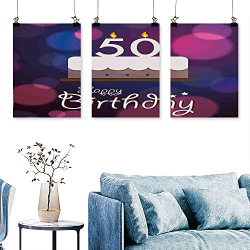 - SCOCICI1588 3 Panel Canvas Wall Art  Color Spots Graphic Cake Number Candlesticks Cute Lettering Blue Pink White Print On Canvas No Frame 24 INCH X 47 INCH X 3PCS