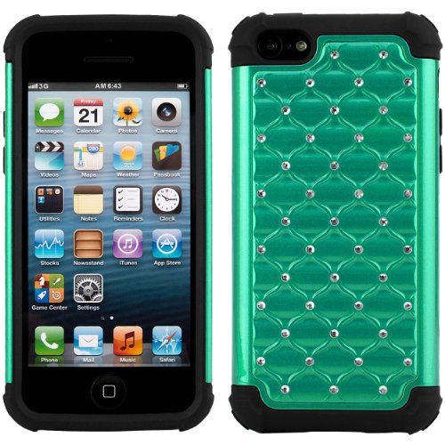 Studded Diamond Hybrid Case with Skin Cover for Apple iPhone 5C / 5S / 5 Smartphone + Mirror Screen Protector + SumacLife TM Wisdom Courage Wristband - Phone I 5c International Unlocked