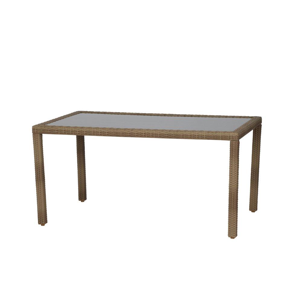 Siena Garden Dining Tisch Bern, 150x90x74cm, Gestell: Aluminium, pulverbeschichtet, Fläche: Gardino-Geflecht in sand,Tischplatte: Glas