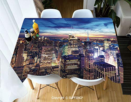 Vinyl tablecloth Empire State and Skyscrapers of Midtown Manhattan New York Aerial View at Dusk (55 X 72 inch) Great for Buffet Table, Parties, Holiday Dinner, Wedding & More.Desktop decoration.Polye
