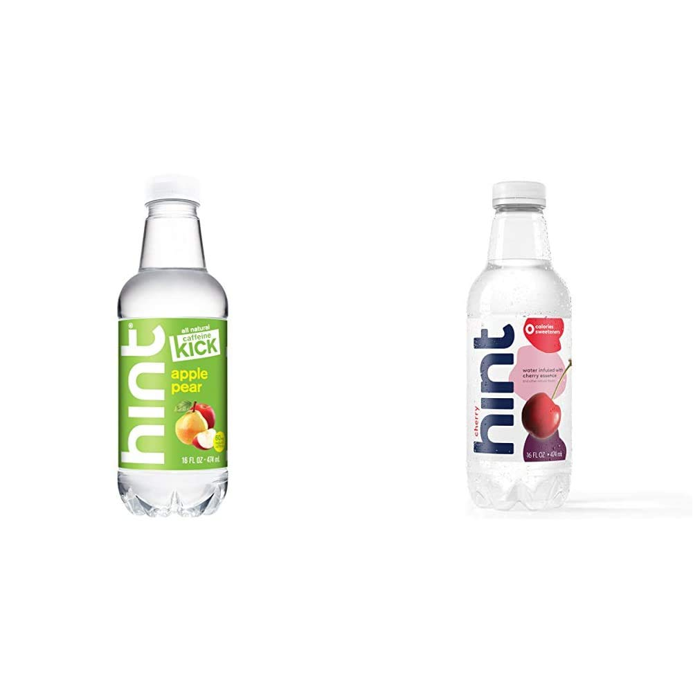 Hint Kick With Caffeine Water, Apple Pear, (Pack of 12) 16 Ounce Bottles, Caffeinated Water, Apple Pear infused & Water Cherry, (Pack of 12) 16 Oz Bottles, Pure Water Infused