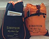TWO Drawstring Backpacks Knapsacks Satchels or Keepsake Christmas Gift Bags! Polyester and PolyCanvas w/Earbud Port - EINSTEIN w/My Alter Ego