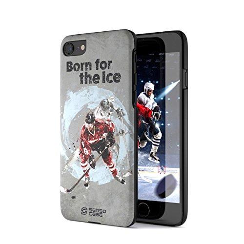 iPhone 7/8 Case, Born For Hockey. Sensocase Premium Extreme Sports Unique Designer Tough Shell Thin Cover. Luxury, Anti-Fingerprint, Anti-Scratch Stylish Slim Protective Apple Phone Case.