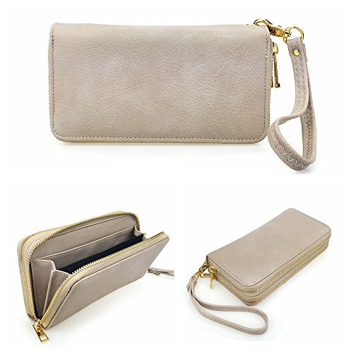 - Hoxis Multi-purpose Generous Faux Texture Leather Purse Organizer Double Zip Around Long Wallet with Wristlet (Khaki)