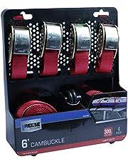 Kit C/ 4 Cintas Afiveladas De 1.8M P/ Fixacao De Carga Leve (Carga Max. 136 Kg) Aco Galv. Reese 21.5 X 25 X 6.8
