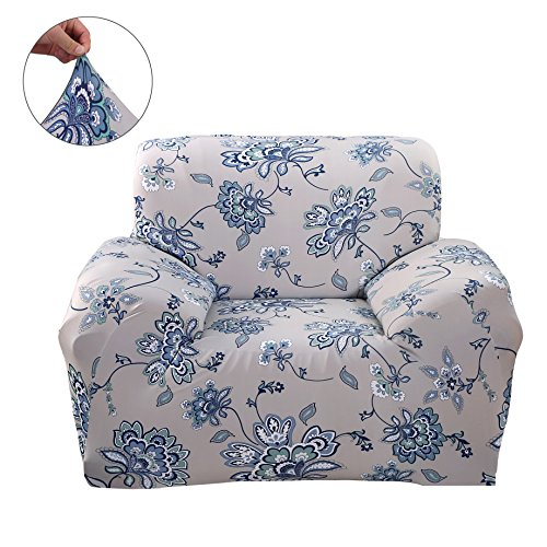 bric Sofa Slipcovers Flower Series Removable Stretch Elastic Couch Protector Covers for Living Room Bedroom (Armchair, Iris) ()