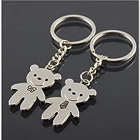 Creative Cute Personality Couple Keychain Creative Bear Key Accessories_Silver Ornament
