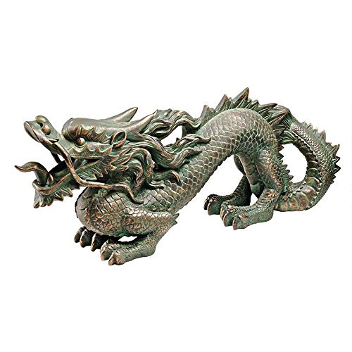 Design Toscano Asian Dragon of the Great Wall Garden Statue, Medium, 21 Inch, Polyresin, Bronze Verdigris Finish