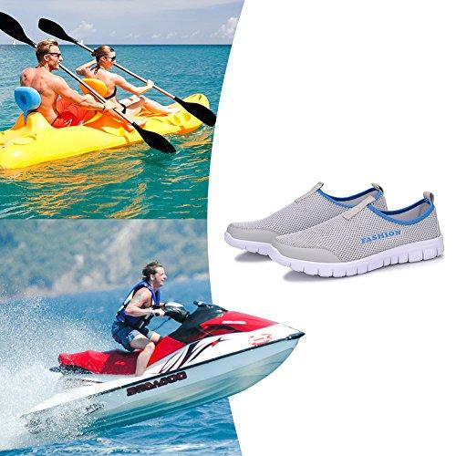 Sibba Männer & Frauen Runing Schuhe Atmungsaktive Mesh Slip-On Sneakers für Walking Jogging Outdoor Casual Sport Hellgrau-1