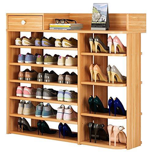 TZAMLI Wooden Shoe Rack Vertical Design Entryway Shoes Storage Stand Modern 6 Tiers Shoe Rack Organizer Multi Shoe Rack Closet Organizer Shoe Box Storage Shelf (Z-True Color)