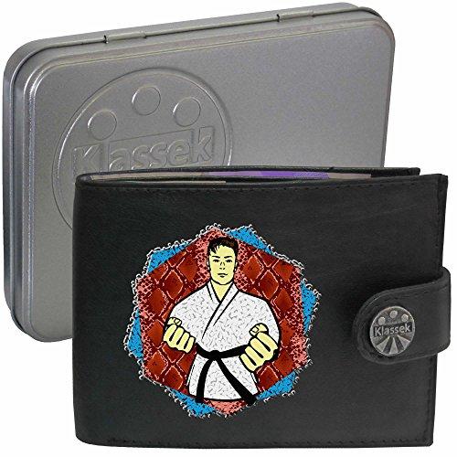 Black Belt Martial Art Schwarze Gürtel Kampfkunst Karate Taekwondo Klassek Herren Geldbörse Portemonnaie Brieftasche aus echtem Leder schwarz Geschenk Präsent mit Metall Box