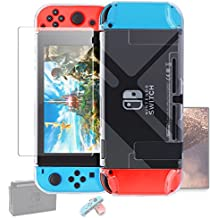 Dockable Case Nintendo Switch [Updated],FYOUNG Protective Accessories Cover Case Nintendo Switch Nintendo Switch Joy-Con Controller a Tempered Glass Screen Protector - Clear
