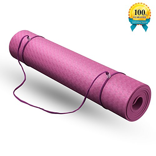 "Yoga Mat with Carrying Strap and Bag 1/4-inch(72"" x 24"") Textured Non-Slip Surface TPE Eco-Friendly Non-Toxic Material High Density Anti-Tear Optimal Cushioning Yoga and Exercise Mat"