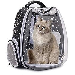 LEEaccessory Mochila para Mascotas, Bolsa Transparente para Gatos Y Cachorros con USB para Viajes, Senderismo, Uso Al Aire Libre, 4 Colores, 13x10.2x15.7in