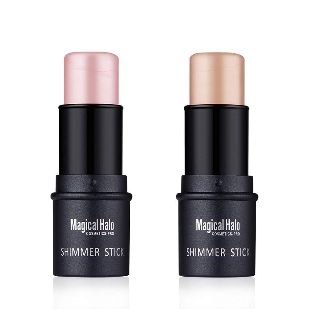 Ownest 2 Colors Highlighter Stick, Shimmer Cream Powder Waterproof Light Face Cosmetics, Creamy Self Sharpening Crayon Stick Brightener & Highlighter