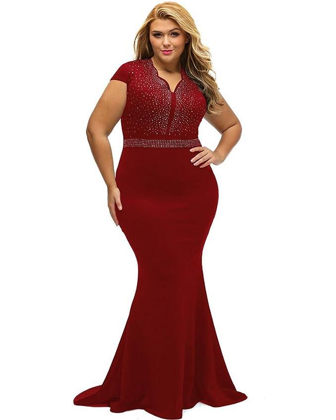 Review Lalagen Women's Short Sleeve Rhinestone Plus Size Long Cocktail Evening Dress