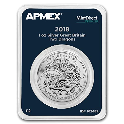 2018 UK Great Britain 1 oz Silver Two Dragons (MintDirect? Premier) 1 OZ Brilliant Uncirculated