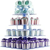 Acrylic Cupcake Stand - Unique Bubble Rod, 4 Tier, Tint Blue, Square Tower, Hold 38 pieces Cupcakes, for Wedding Party Birthday