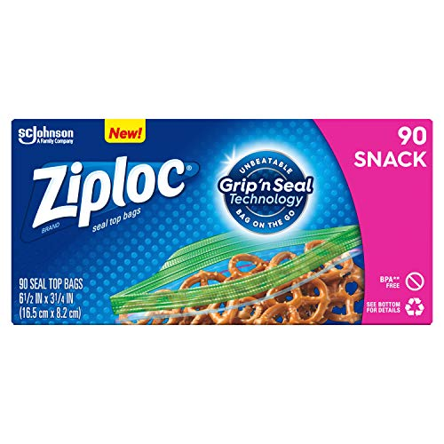 Ziploc Snack Bags, Easy Open Tabs, Ideal for packing cookies, fruits, vegetables, chips and more, 90 Count