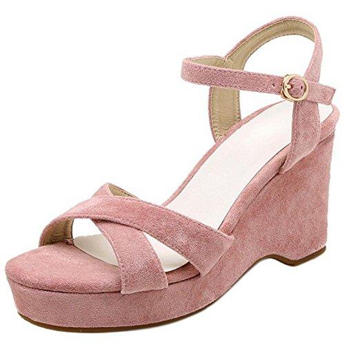 62 Pink Donna Classico COOLCEPT Estive con Sandali Zeppa Scarpe Cinghia vHWqz