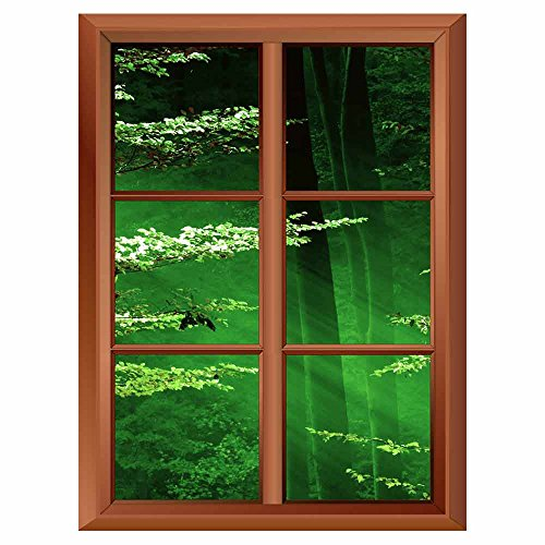 Removable Wall Sticker Wall Mural Lights of the Forest Creative Window View Vinyl Sticker