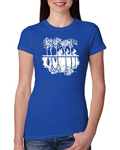 (Upside Down Bike Silhouette | White | Womens Pop Culture Junior Fit Tee Graphic T-Shirt, Royal, Medium)