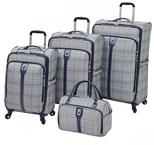 London Fog Knightsbridge 4 Piece Spinner Luggage Set (Grey/Navy Glen Plaid) (Plaid Sets Luggage)