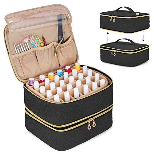 Luxja Detachable 2 Layers Nail Polish Organizer - Hold 60 Bottles (15ml - 0.5 fl.oz.), Nail Polish Case with Tools Storage Pockets (Patented Design), Black