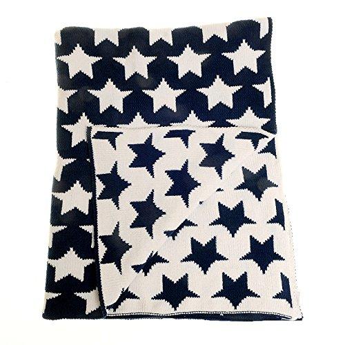 Zippy Baby nursery coperta reversibile in bianco e navy stelle per culla e carrozzina regalo perfetto 100/% ciniglia lavorato a maglia
